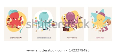 cute octopus character cartoon illustration Stock photo © izakowski
