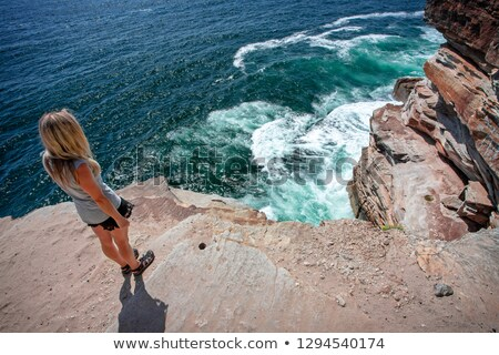 Female takes in the ocean views from cliff top ledge Stock photo © lovleah