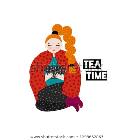 Girl in warm clothes spending autumn or winter weekend at home - drink tea. Hand drawn cute cartoon  Stock photo © user_10144511