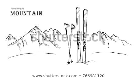 Snow mountain peak hand drawn outline doodle icon. Stock photo © RAStudio