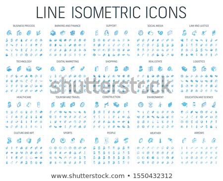 Sport outline isometric icons Stock photo © netkov1
