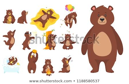 Szeretet bolyhos medvék poszter színes betűtípusok Stock fotó © robuart