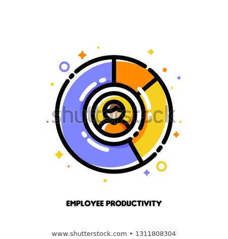 Icon of multicolor diagram and staff for employee productivity Stock photo © ussr