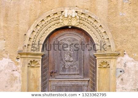 Város Németország öreg porta épület fa Stock fotó © LianeM