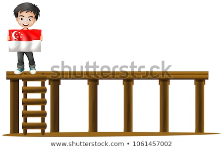 boy with flag of singapore on stage stock photo © colematt