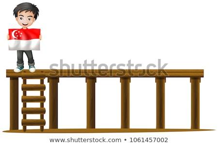 Menino bandeira Cingapura etapa ilustração criança Foto stock © colematt
