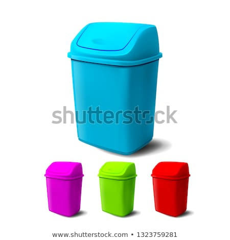 Plastic Bucket Vector. Bucketful Different Colors. Classic Jar Empty. Office, Restroom Equipment For Stock photo © pikepicture