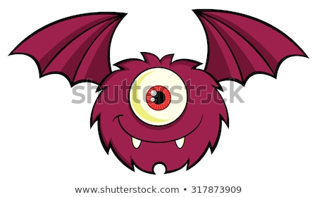 smiling cute one eyed monster cartoon character flying with text stock photo © hittoon