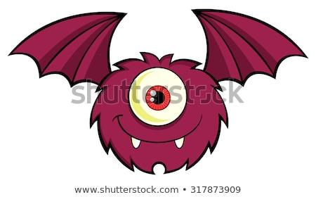 Lächelnd cute ein Monster Zeichentrickfigur unter Stock foto © hittoon