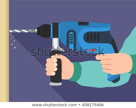 Icon boren muur bouw ontwerp teken Stockfoto © angelp