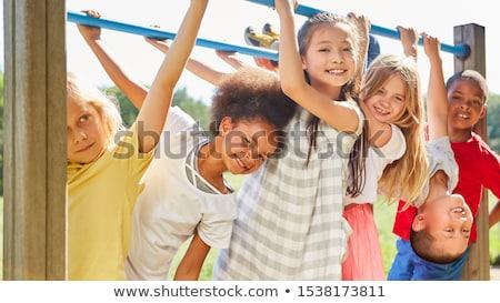 Groep multiculturele kinderen camping illustratie gelukkig Stockfoto © bluering