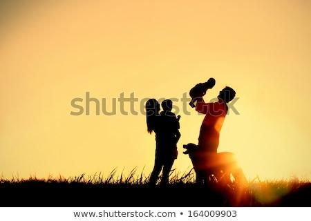 Boldog család baba díszállat kutya illusztráció gyermek Stock fotó © colematt