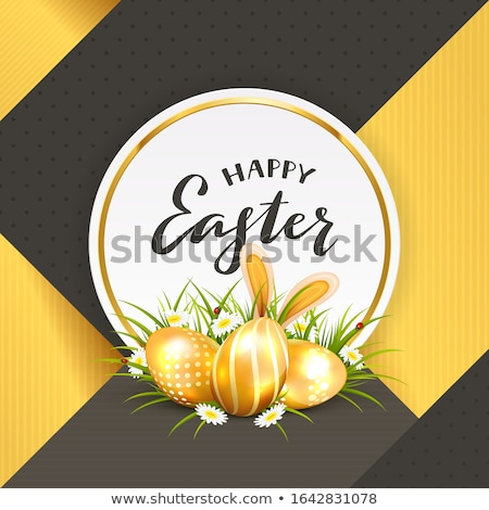 Złoty Easter Eggs zając kłosie biały zielona trawa Zdjęcia stock © limbi007