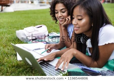 jovem · lição · de · casa · usando · laptop · computador · menina · crianças - foto stock © deandrobot