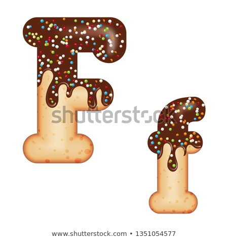 Tempting typography. Font design. 3D donut letter F glazed with  Stock photo © balasoiu