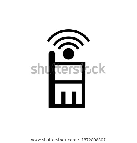 Mobile wireless charging line icon. Smartphone with radio or wifi waves. Vector illustration isolate Stock photo © kyryloff