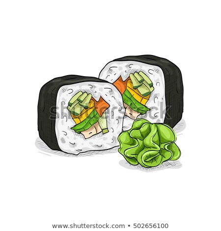 Vector sushi sketch, Boston roll Сток-фото © netkov1