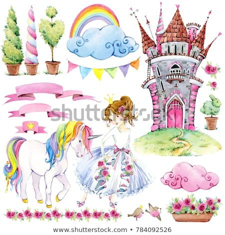 Happy Birthday, Princess Congratulation, Unicorn Foto d'archivio © robuart