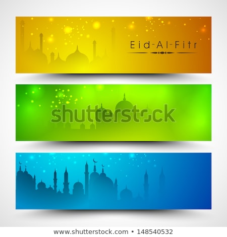 eid mubarak web banner or header with decorative moon Stock photo © SArts