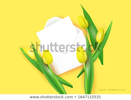 Amarelo tulipa flores buquê vetor realista Foto stock © frimufilms
