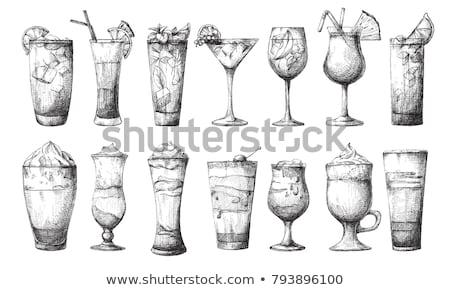 Ingesteld verschillend bril koffie cocktails schets Stockfoto © Arkadivna