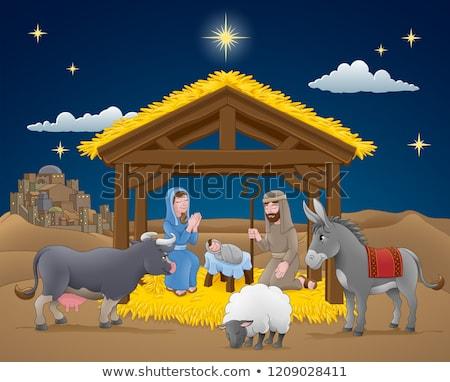 ストックフォト: クリスマス · シーン · 漫画 · 赤ちゃん · イエス · ロバ