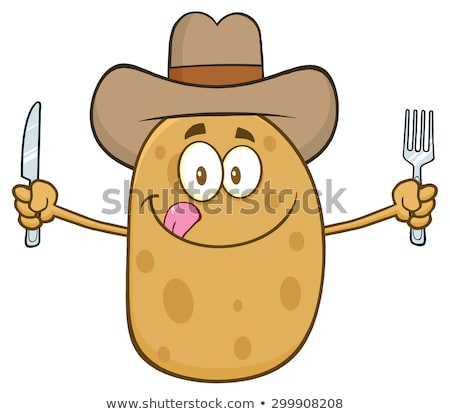 Vaqueiro batata faca garfo isolado Foto stock © hittoon