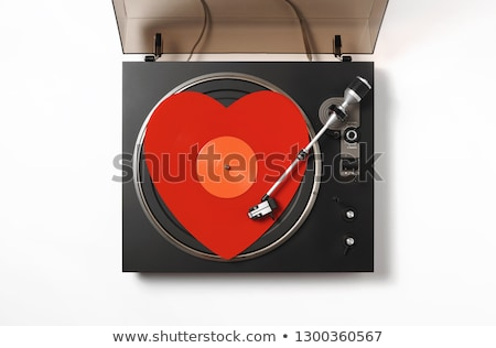 Forma de coração vinil registros música festa brilhante Foto stock © alexaldo