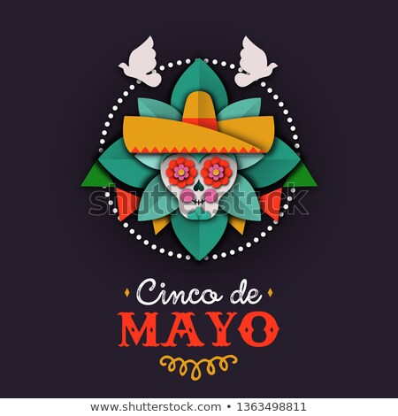 Cinco de Mayo card of papercut skull mariachi Stock photo © cienpies