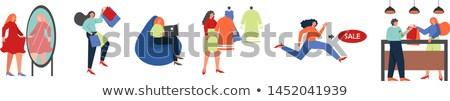 jonge · vrouw · winkelwagen · geïsoleerd · witte · winkelen · zwarte - stockfoto © elnur