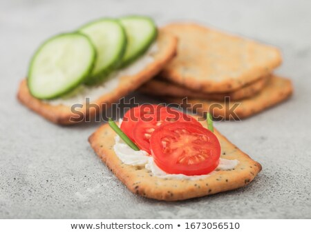 Snack crackers with cream cheese and dill Stock photo © Melnyk