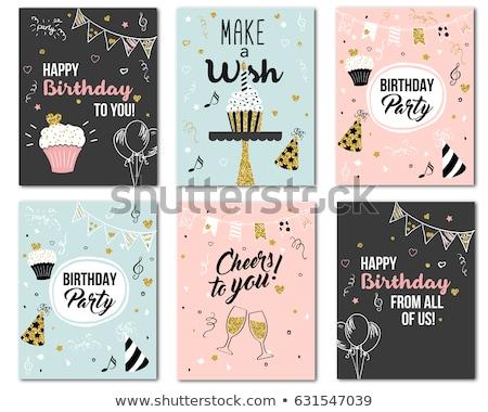 С Днем Рождения плакат текста вечеринки люди образец Сток-фото © robuart