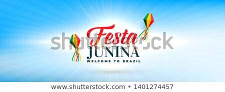 clean sky with festa junina decorative lamps banner Stock photo © SArts