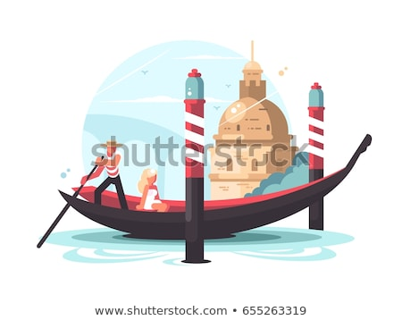 Gondolier transports woman in gondola Stock photo © jossdiim