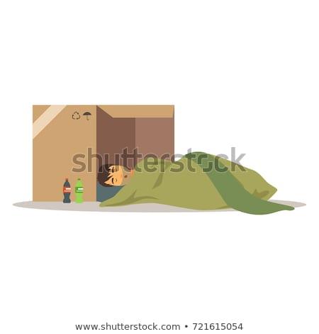 Alszik hajléktalan koldus kartondoboz illusztráció lábak Stock fotó © tiKkraf69