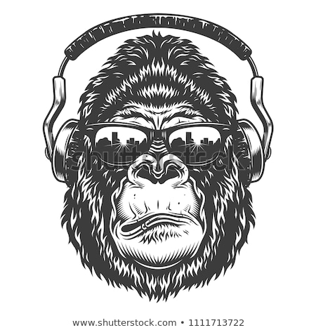 Gorilla Headphones Head Mascot Retro Stock photo © patrimonio