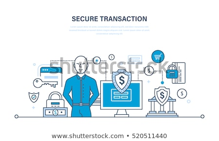 Electronic Safe Deposit Vector Thin Line Icon Stock photo © pikepicture