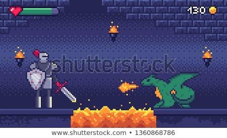 Piksel oyun ejderha şövalye kavga vektör Stok fotoğraf © robuart