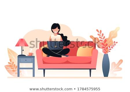 Autumn People in Flat Style. Woman Freelancer Stock photo © robuart