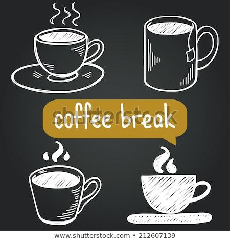Quadro-negro desenho caneca de café ícone lousa vetor Foto stock © cidepix