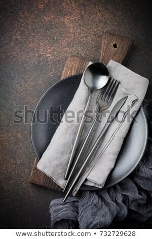 Gris serviette rouillée table sombre Photo stock © furmanphoto