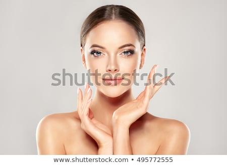 gyönyörű · fiatal · nő · tiszta · friss · bőr · érintés - stock fotó © serdechny