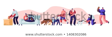 People Character with Cat and Dog Outdoor Vector Stock photo © robuart