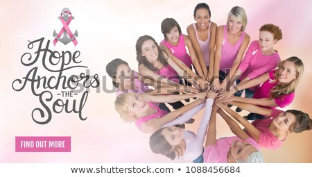 Сток-фото: Find Out More Button With Hope Anchors The Soul Text With Breast Cancer Awareness Women Putting Hand