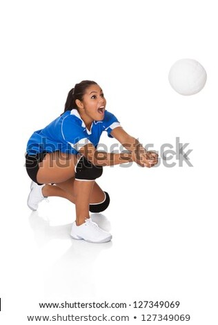 young, beauty volleyball player. Isolated on white in studio Stock photo © Lopolo