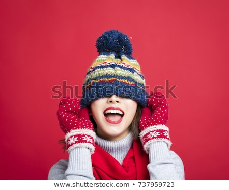 young beautiful woman with red scarf and christmas hat Stock photo © juniart