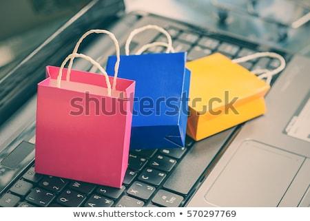 Blauw · boodschappentas · online · winkelen - stockfoto © devon