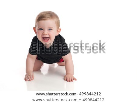 Portrait of a smiling nine-month old boy on white Stock photo © photobac