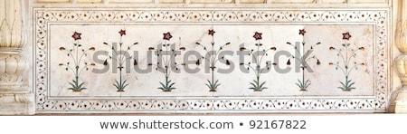 márvány · oszlopok · előcsarnok · közönség · piros · erőd - stock fotó © meinzahn