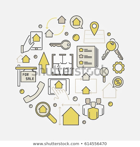 Realty flat yellow color rounded vector icon Stock photo © ahasoft
